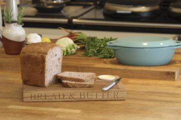 personalized engraved solid oak bread board