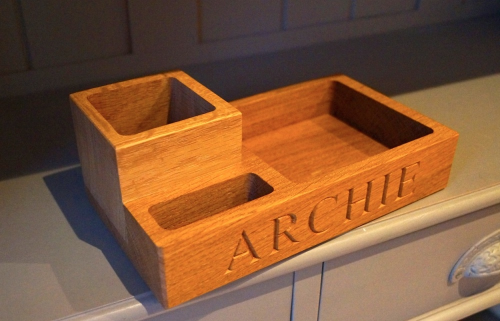 Personalized engraved solid oak desk tidy