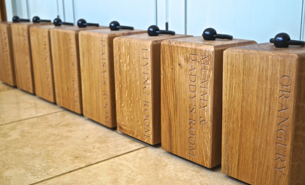 Engraved Oak Door Stops