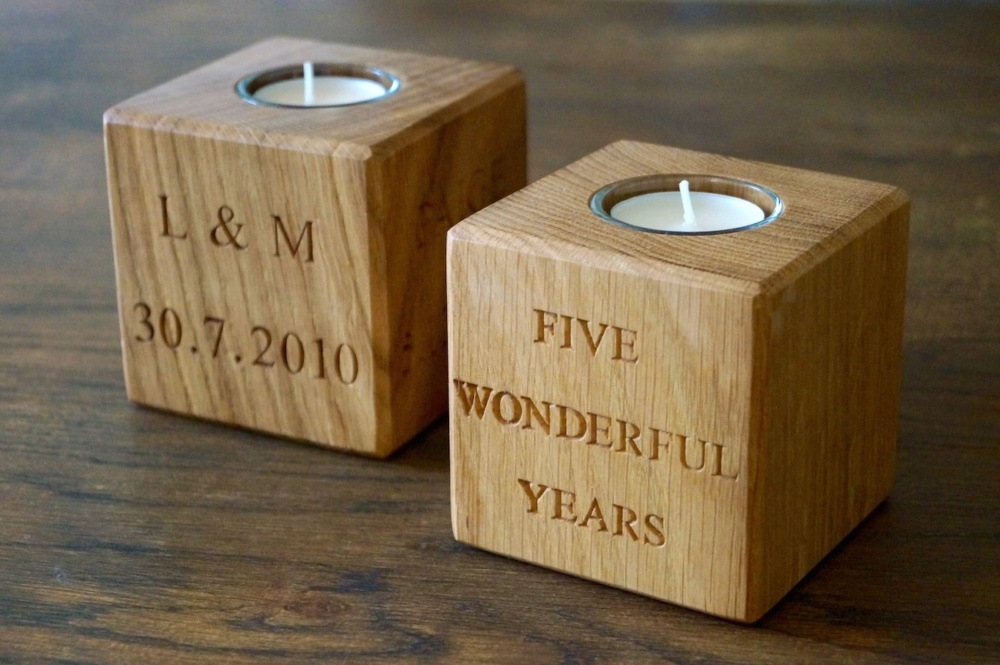 our personalised wooden tea light holders